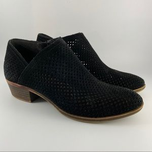 Lucky Brand Baylah Black Perforated Ankle Booties